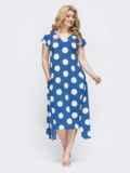 Голубое платье батал в горох с вырезом по спинке 46366, фото 3
