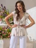 Хлопковая блузка молочного цвета с принтом и баской 49129, фото 2