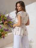 Хлопковая блузка молочного цвета с принтом и баской 49129, фото 4