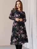 Платье из шифона с принтом и расклешенной юбкой черное 52934, фото 2