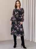 Платье из шифона с принтом и расклешенной юбкой черное 52934, фото 3