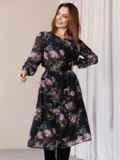 Платье из шифона с принтом и расклешенной юбкой черное 52934, фото 4