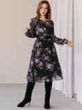 Платье из шифона с принтом и расклешенной юбкой черное 52934, фото 5