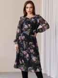Платье из шифона с принтом и расклешенной юбкой черное 52934, фото 6