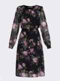 Платье из шифона с принтом и расклешенной юбкой черное 52934, фото 7