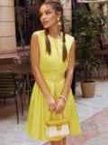 Желтое платье-трапеция со встречной складкой по полочке 54192, фото 3