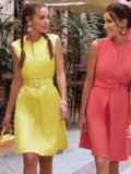 Желтое платье-трапеция со встречной складкой по полочке 54192, фото 2