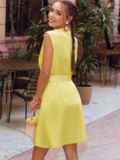 Желтое платье-трапеция со встречной складкой по полочке 54192, фото 4