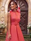 Коралловое платье-трапеция со встречной складкой по полочке 54193, фото 1