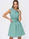 Бирюзовое платье-трапеция со встречной складкой по полочке 54195, фото 1