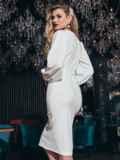 Обтягивающее платье с манжетом на резинке белое 42621, фото 2