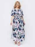Платье-макси большого размера с принтом и разрезами по бокам серое 46399, фото 2