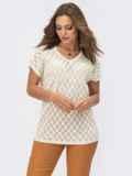 Ажурный пуловер с коротким рукавом белый 54092, фото 2