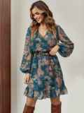 Шифоновое платье-мини с принтом зеленое 55214, фото 2
