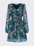 Шифоновое платье-мини с принтом зеленое 55214, фото 5