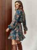 Шифоновое платье-мини с принтом зеленое 55214, фото 4