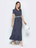 Длинное платье-рубашка в горох с оборкой по низу синее 21838, фото 2