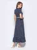 Длинное платье-рубашка в горох с оборкой по низу синее 21838, фото 3