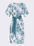 Белое платье свободного кроя с бирюзовым принтом  54157, фото 4