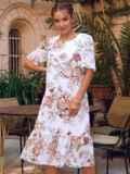 Белое платье-трапеция с принтом и рукавами из шифона 54155, фото 5
