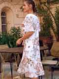 Белое платье-трапеция с принтом и рукавами из шифона 54155, фото 6