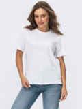 Базовая футболка прямого кроя белая 55043, фото 2