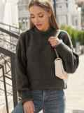 Графитовый свитер с закругленной горловиной 54951, фото 1