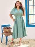Платье батал с коротким рукавом и расклешенной юбкой бирюзовое 54453, фото 2