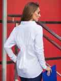 Рубашка из стрейч-коттона и рубашечной ткани белая 14569, фото 3