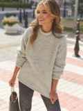 Серый свитер с закругленной горловиной 54953, фото 1