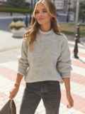 Серый свитер с закругленной горловиной 54953, фото 2