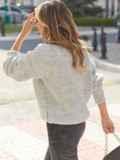 Серый свитер с закругленной горловиной 54953, фото 3