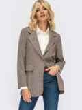 Трикотажный пиджак в клетку с клапанами по полочке коричневый 55138, фото 3