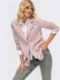 Трикотажный пиджак в клетку с клапанами по полочке розовый 55136, фото 1