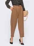 Укороченные брюки-бананы с поясом коричневые 54665, фото 1