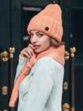 Вязанный комплект из шапки с шарфом персиковый 40435, фото 2