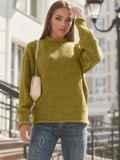 Желтый свитер с закругленной горловиной 54952, фото 2