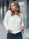 Свитер свободного силуэта с удлиненной спинкой белый - 13003, фото 1 – интернет-магазин Dressa