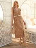 Бежевое платье-миди из штапеля в горох с рукавом-крылышко 54150, фото 2