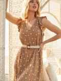 Бежевое платье-миди из штапеля в горох с рукавом-крылышко 54150, фото 3