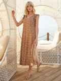 Бежевое платье-миди из штапеля в горох с рукавом-крылышко 54150, фото 4