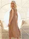 Бежевое платье-миди из штапеля в горох с рукавом-крылышко 54150, фото 5