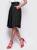 Чёрная расклешенная юбка с карманами по бокам 44954, фото 2