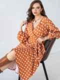 Оранжевое платье батал в горох с расклешеной юбкой 51505, фото 1