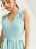 Мятное платье приталенного кроя с V-образным вырезом 54146, фото 3
