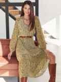 Оливковое платье из шифона с принтом и V-образным вырезом 54808, фото 2