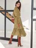 Оливковое платье из шифона с принтом и V-образным вырезом 54808, фото 4