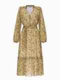 Оливковое платье из шифона с принтом и V-образным вырезом 54808, фото 5