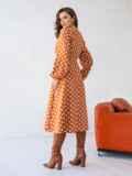 Оранжевое платье батал в горох с расклешеной юбкой 51505, фото 4