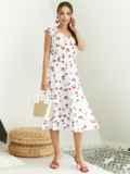 Платье с принтом и фигурным вырезом белое 54143, фото 2
